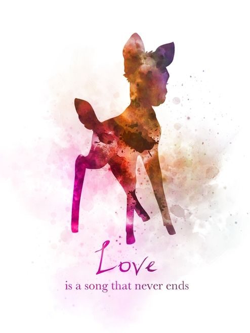 Bambi Quote ART PRINT Wall Art, Love is a song that never ends, Nursery, Gift, Wall Art, Home Decor, Disney, Gift Ideas, Birthday, Christmas, Love is a song that never ends, Inspirational