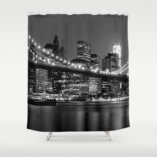 Curtains Ideas cityscape shower curtain : New York shower curtain/Black and white shower curtain/City shower ...