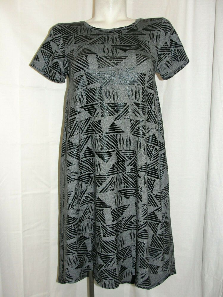 34739ead7810d LLR LuLaRoe Dress Women's Size XS Dark Blue Gray Design CARLY HI-LO Hem SS