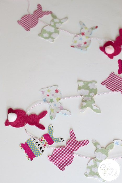Funky Bunny Garland for Easter (& a Free Template) | Garlands, Bunny ...