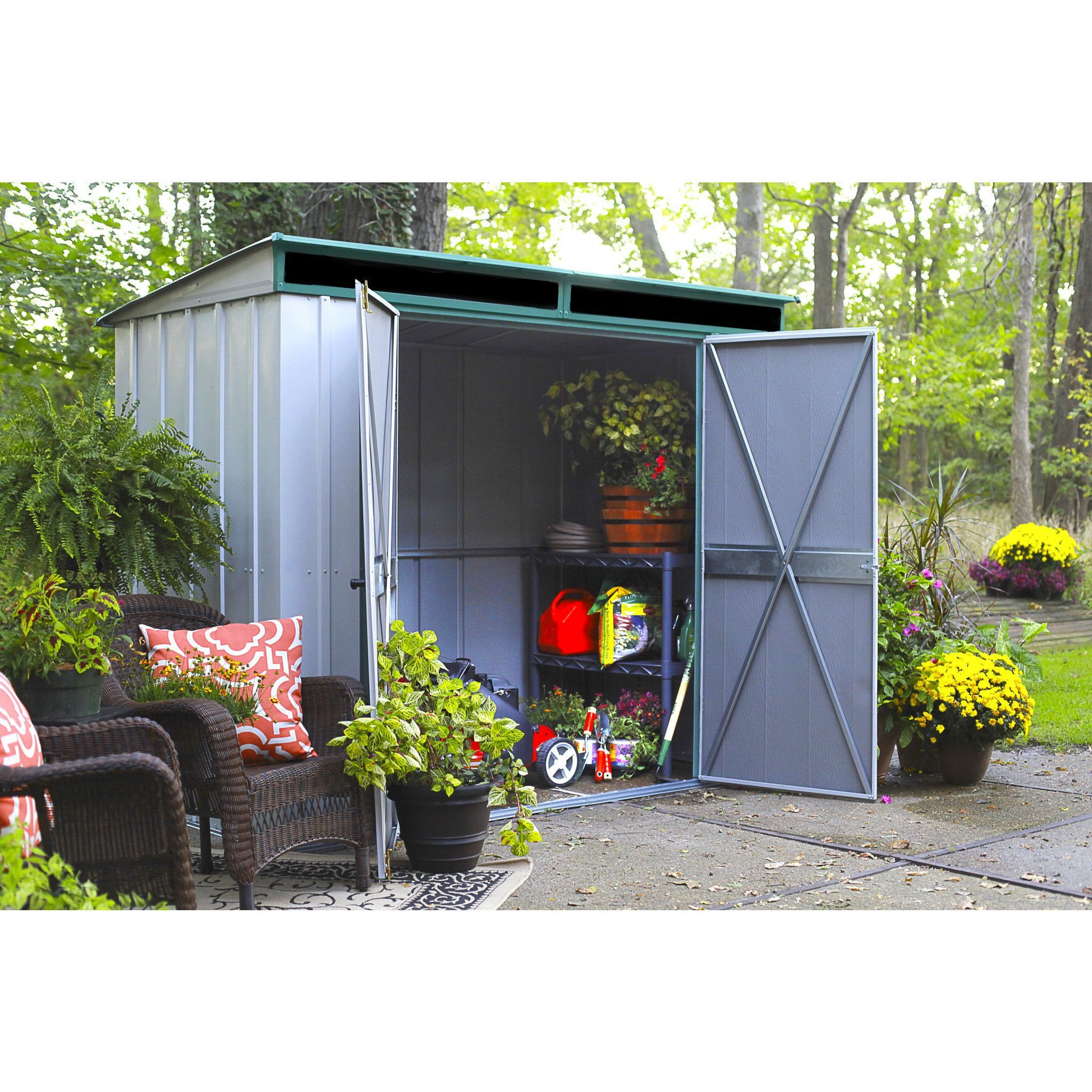 Arrow 8 X 4 Eurolite Pent Metal Storage Shed Sheds Steel Storage Sheds Metal Storage Sheds Steel Sheds