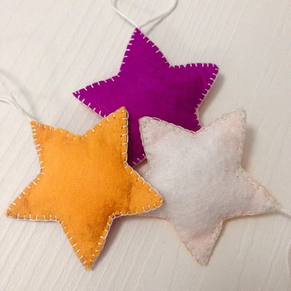 Set of star garlands Felted Stars Christmas tree stars Baby mobile