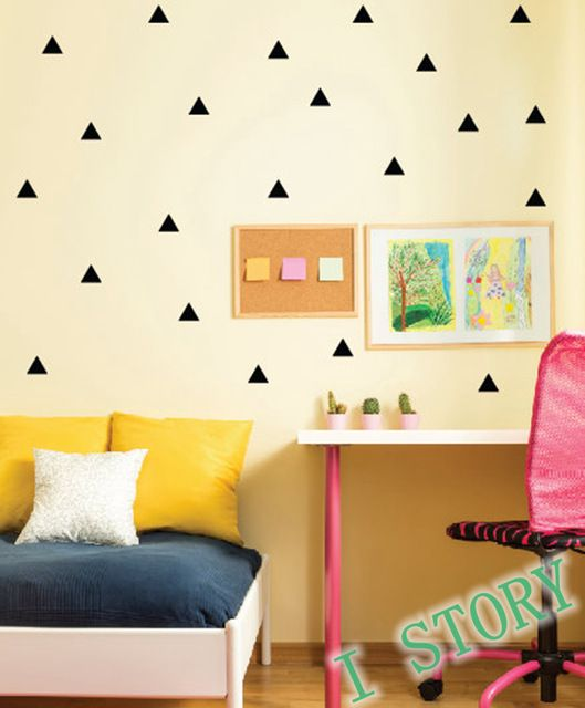 Triangles Wall Sticker Kids Room wall decoration / Gold triangles ...