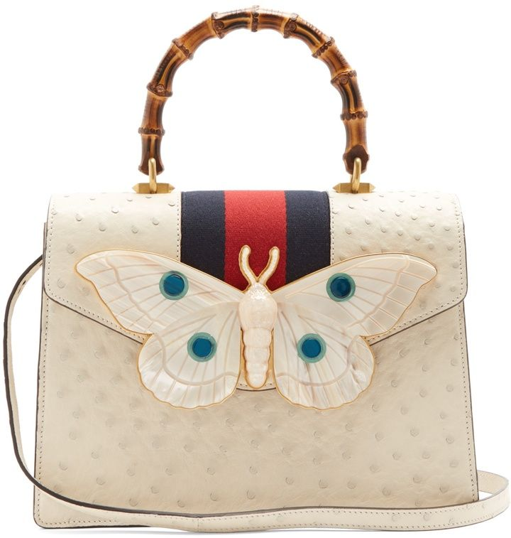 fea33ca30a4 GUCCI Moth-embellished ostrich-leather bag  fashion  pandafashion  satchel   gucci