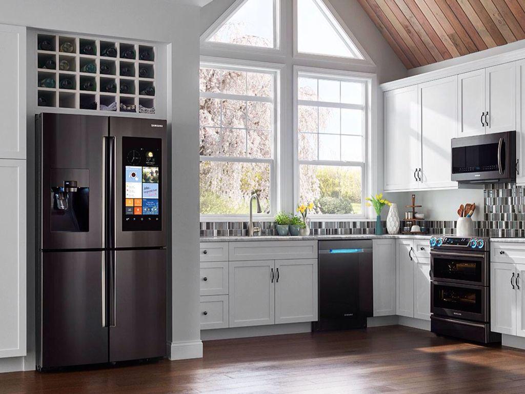Kitchen with white samsung kitchen appliances