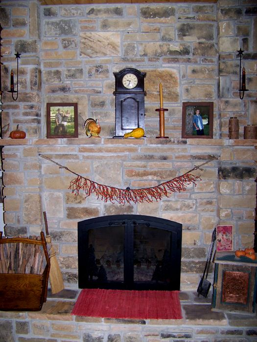 Stone Fireplace Decorated with Primitives for Fall For The Love Of