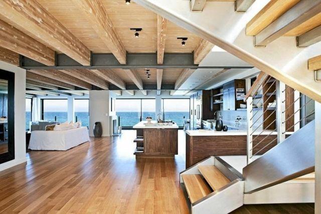 wohnzimmer einrichten kochinsel küche holzdecke lampe | ideen rund ... - Haus Einrichten Ideen