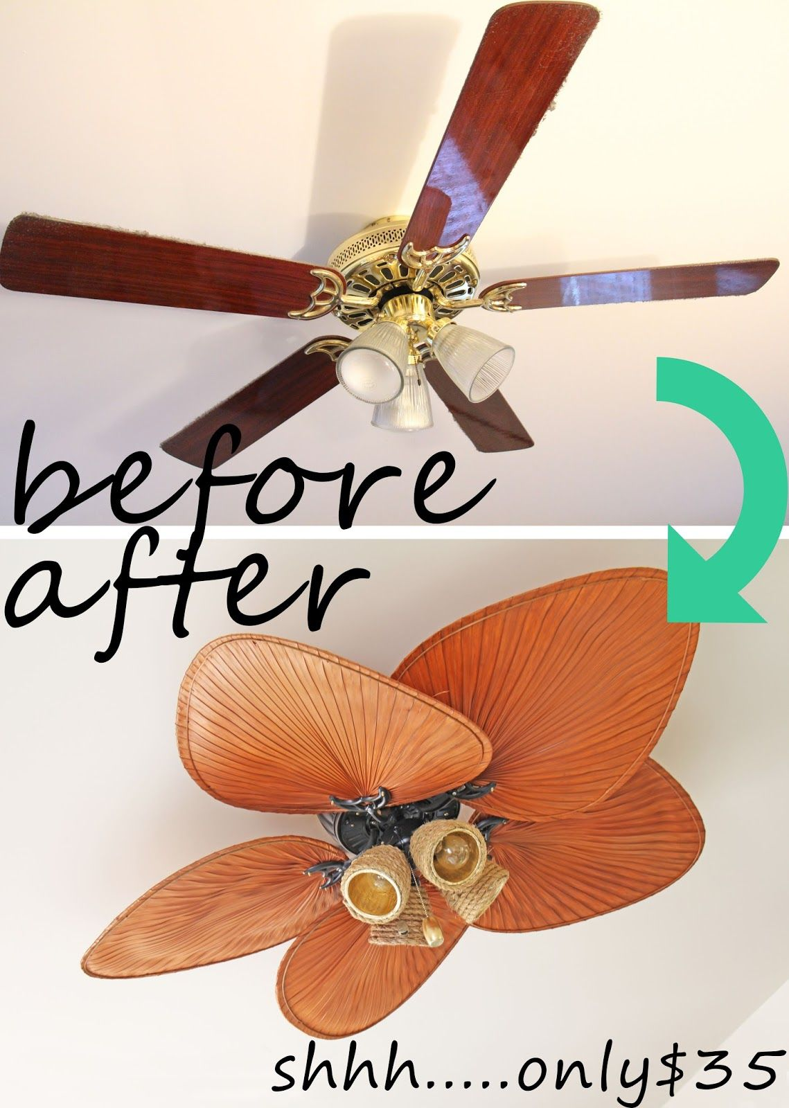 Crazy amazing ugly ceiling fan 35 makeover diy - Ventiladores silenciosos hogar ...