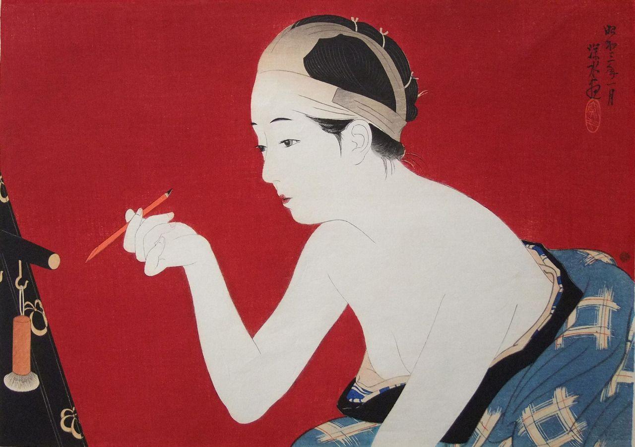 伊東深水。眉墨 Itou Shinsui. Mayuzumi 日本美術