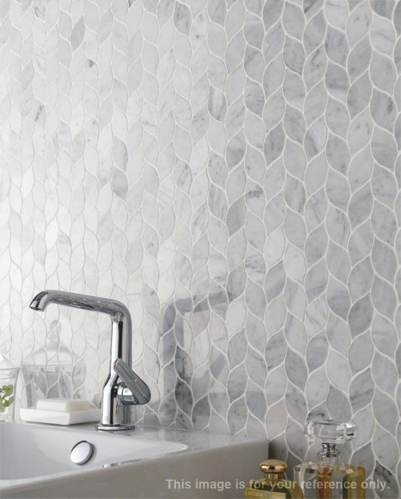 Li Decor Sample Italian White Bianco Carrara Mesh Mounted Leaf