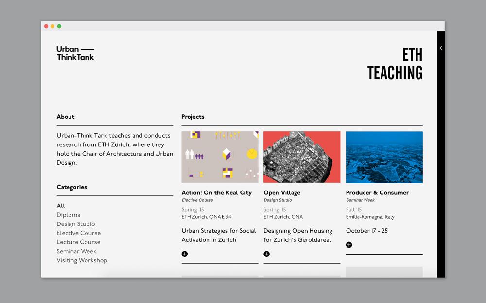 Urban Think Tank S Website On Behance In 2020 Web Design Inspiration Web Layout Design Web App Design
