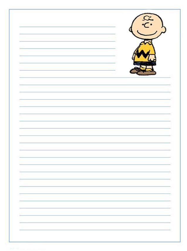 Imprime gratis papel de cartas infantil para niños de Charlie Brown ...