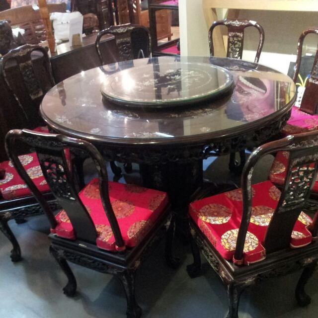 Rosewood Dining Table Lazy Susan With 8 Chairs For 2 800 On