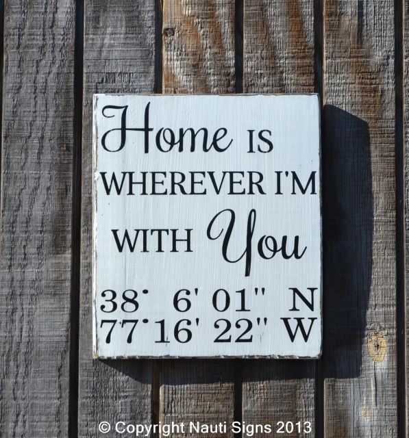 Home Is Wherever I M With You Wood Sign Home Decor: Family Custom Wood Signs Rustic Home Decor Sign, Beach