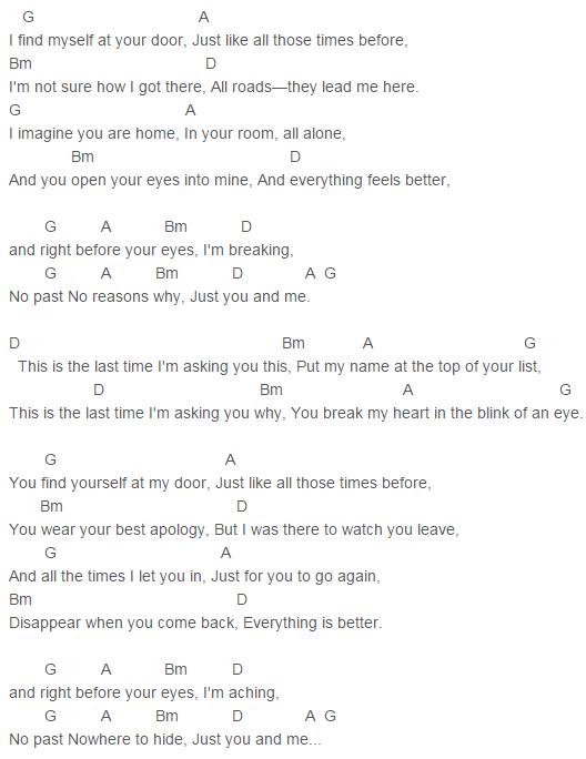 Gary Lightbody Red Taylor Swift The Last Time Chords Lyrics For