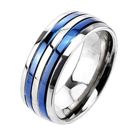 Stainless Steel Black 2 Color Diamond-Cut Striped Comfort Fit Flat Band Ring