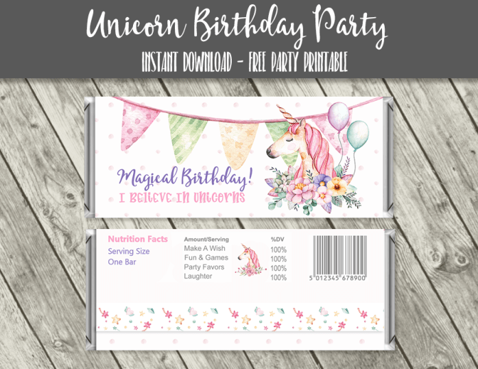 graphic regarding Free Printable Birthday Candy Bar Wrappers known as Totally free Unicorn Birthday Printables unicorn birthday