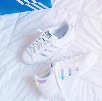 adidas superstars holographic white purple blue rainbow fashion sneakers stan smiths