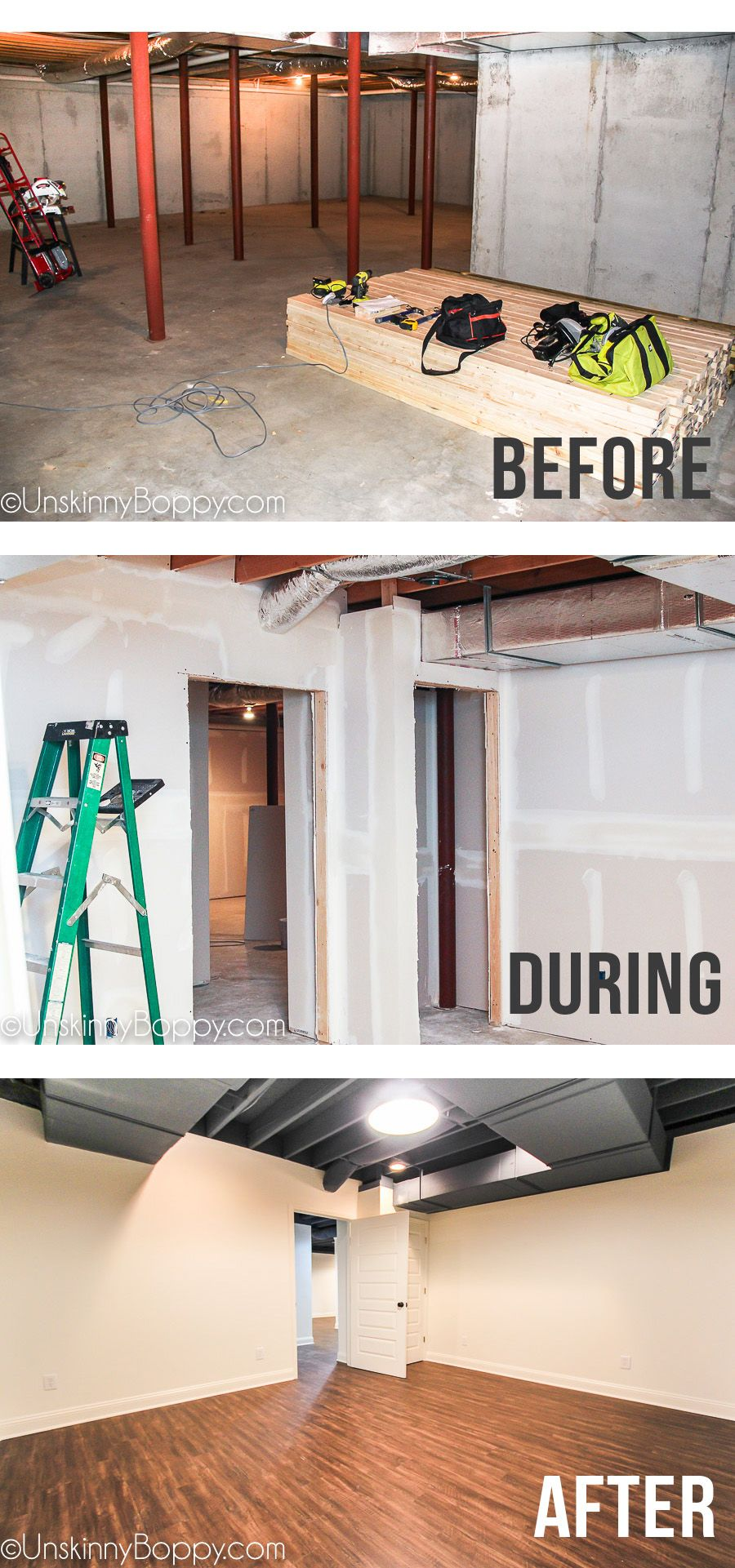 Ugly basement makeover ideas -- painted basement ceiling with ...