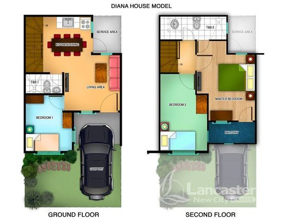 Diana House Model Is A 60 Sqm Townhouse On A 50 Sqm Lot Area It Has Three Bedrooms Two To House Plans 2 Storey 2 Storey House Design Small House Design Plans
