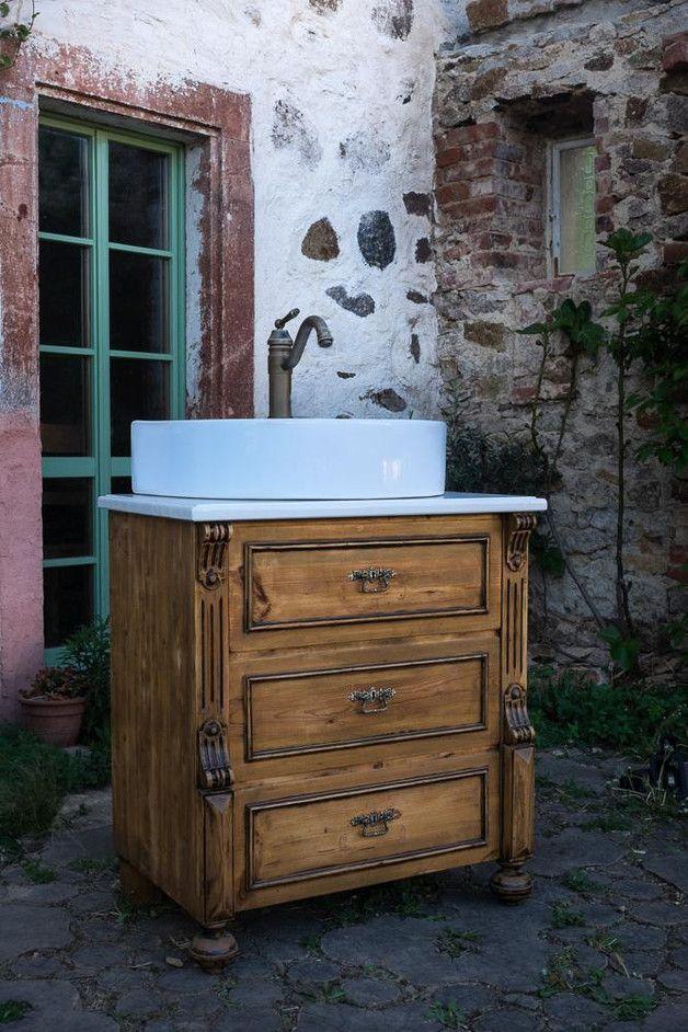 Badunterschränke - Antik Waschtisch, Kommode , Waschkommode - ein - designer kommoden aus holz antike