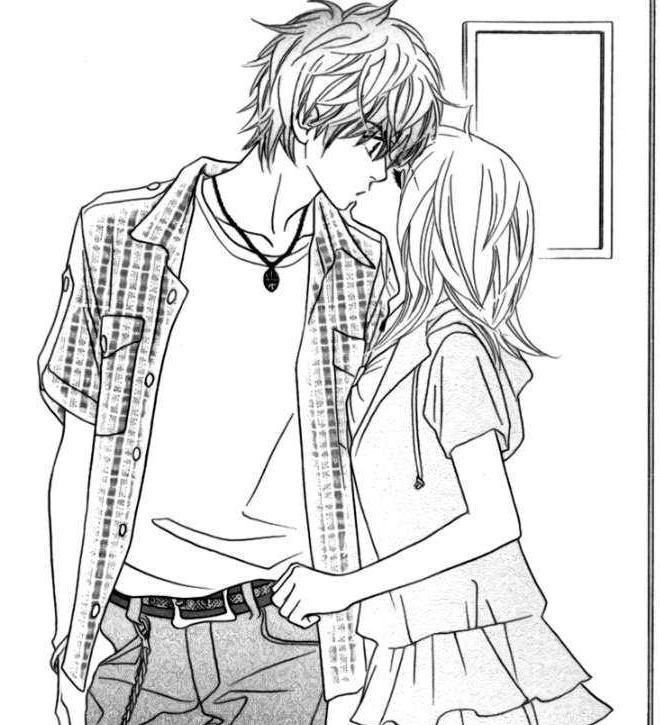 Couple manga coloriages couples manga coloriage manga - Dessin manga a colorier ...