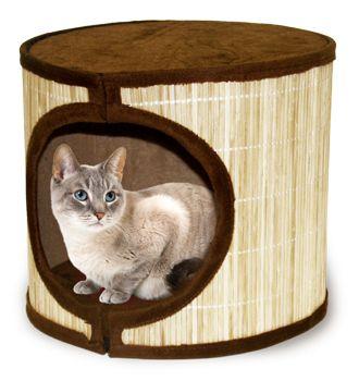 One Story Kitty Condo With Bamboo Mat Siding Moveis Para Gatos Casa De Animais Gatos