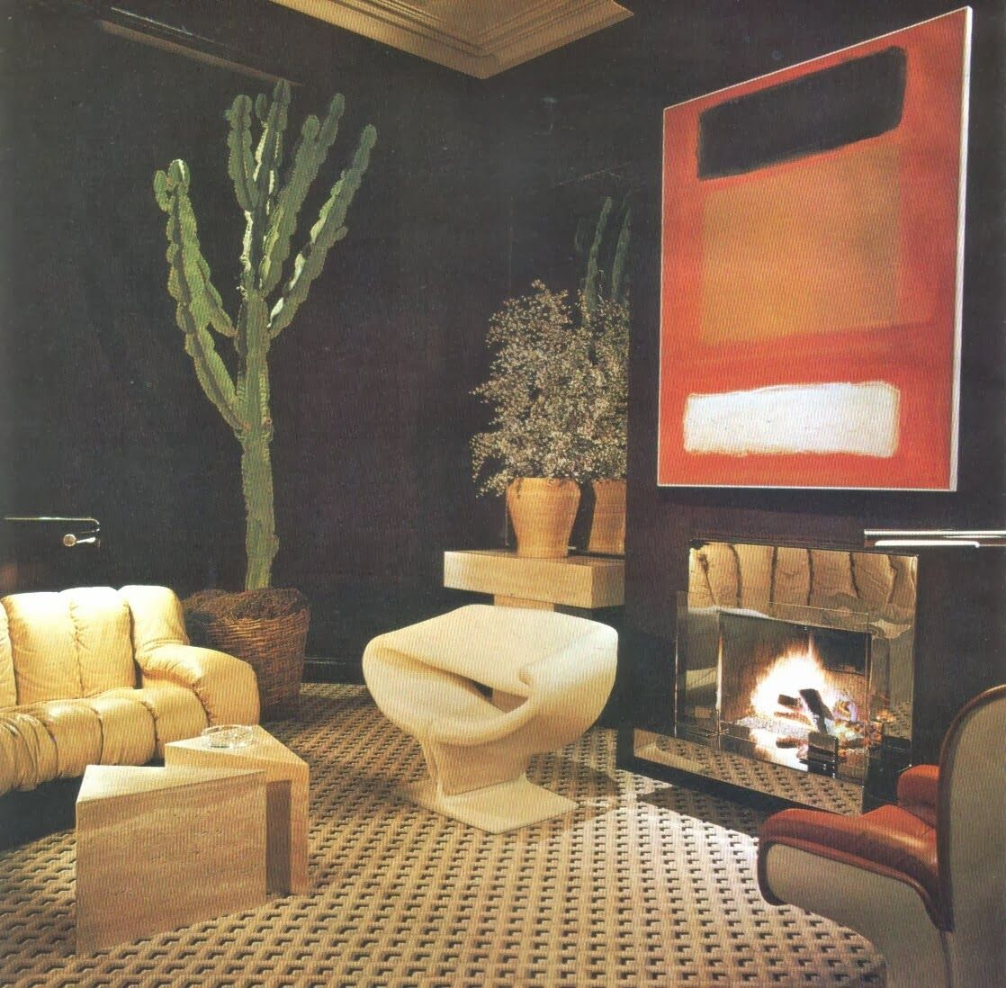 Eclectic living 70s style | Billy Gaylord; Architectural Digest 1975. Photo by  Russell MacMasters.