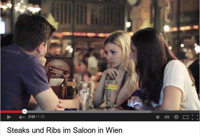 """Steaks und Ribs im Saloon in Wien - dafür gibt es die Auszeichnung """"Video des Monats Juni 2013"""". Ein Besuch im SALOON im Donauplex Wien gleicht einen Trip in den Wilden Westen. (http://www.youtube.com/watch?v=8nNkQZvRDqM)"""