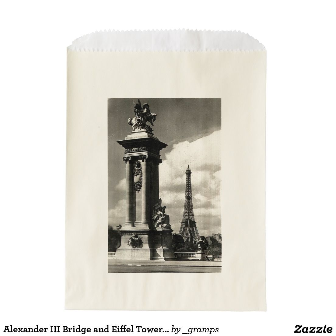 Alexander III Bridge and Eiffel Tower in Paris Favor Bags
