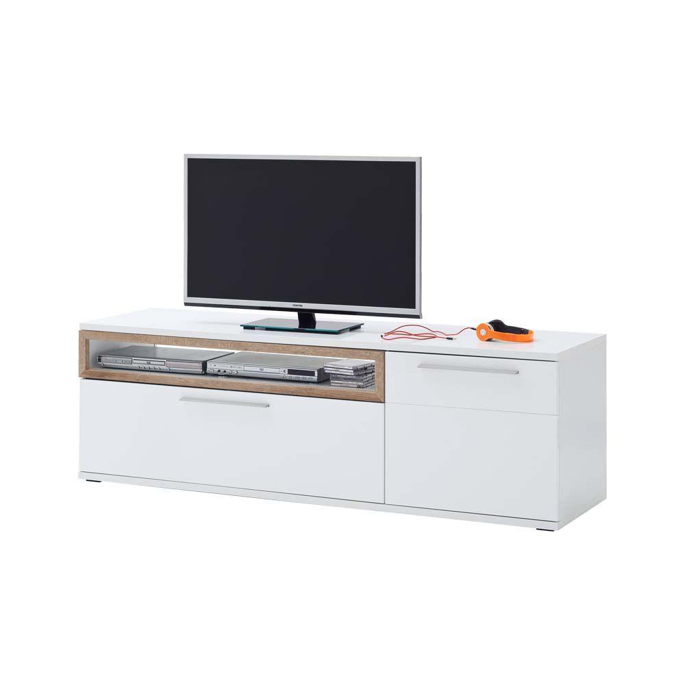 TV Unterschrank in Weiß Hochglanz Eiche 180 cm Jetzt bestellen unter ...