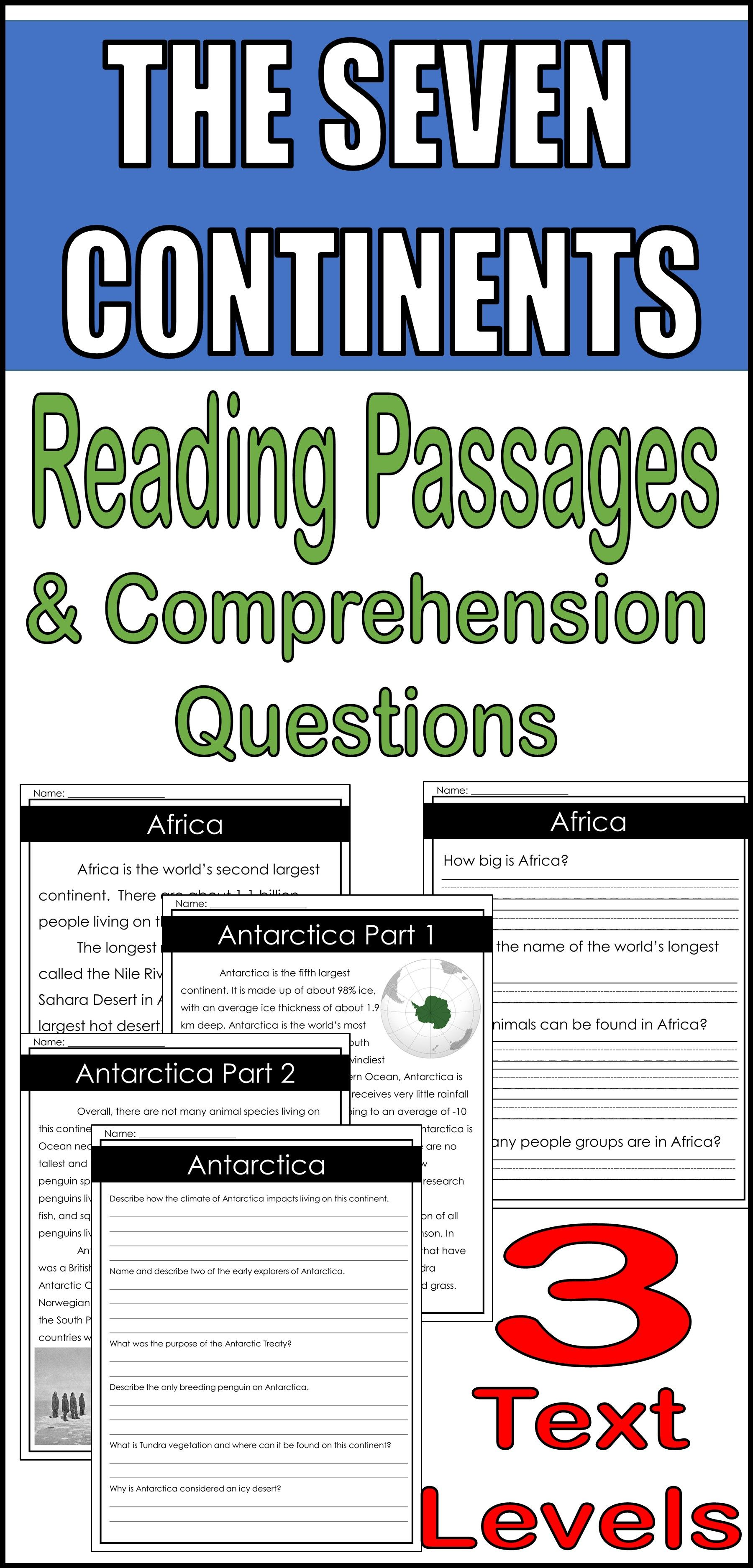 The Seven Continents Reading Passages Amp Comprehension Questions 3 Levels