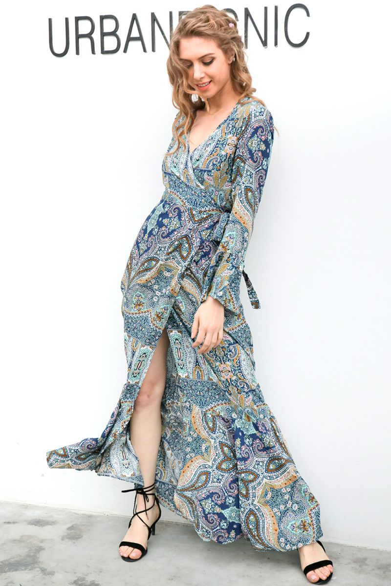 37c0ddd4672 Simplee Boho floral print chiffon split long dress Women beach summer v  neck kimono sexy dress Eleagnt sash wrap maxi dresses
