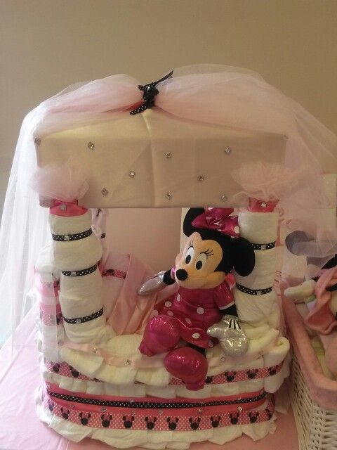 Diaper Cake (Minnie Mouse Canopy bed) & Diaper Cake (Minnie Mouse Canopy bed) | Beyond Words | Pinterest ...