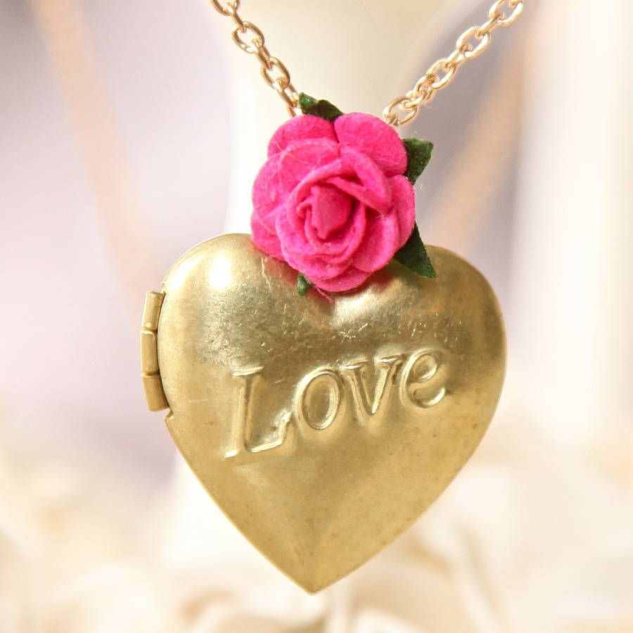 Gold 'Love' Locket Necklace