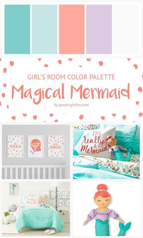 Magical Mermaid Coral Teal Purple Girl's Room Color Palette | This little mermaid bedroom theme is perfect way to decorate your little girl's room. Check out this palette and shop this room on the blog at goodnightfox.com #mermaid #mermaidlife #bedroom #girlsroom #color #beachgirl #mermaidbedroom