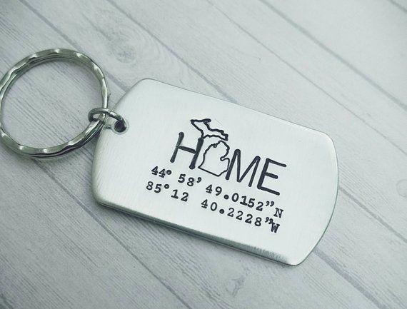 Michigan HOME Key Ring Realtor Gift Latitude Longitude