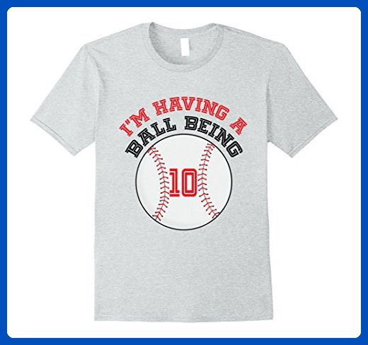Mens Baseball Tee 10 Year Old Birthday T Shirt Kids Boys Girls 3XL Heather Grey
