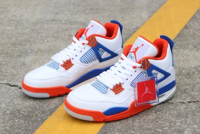 "feb1dfa142ea Custom Air Jordan 4 ""Knicks"" White Royal Blue-Orange 308497-171 Free  Shipping"