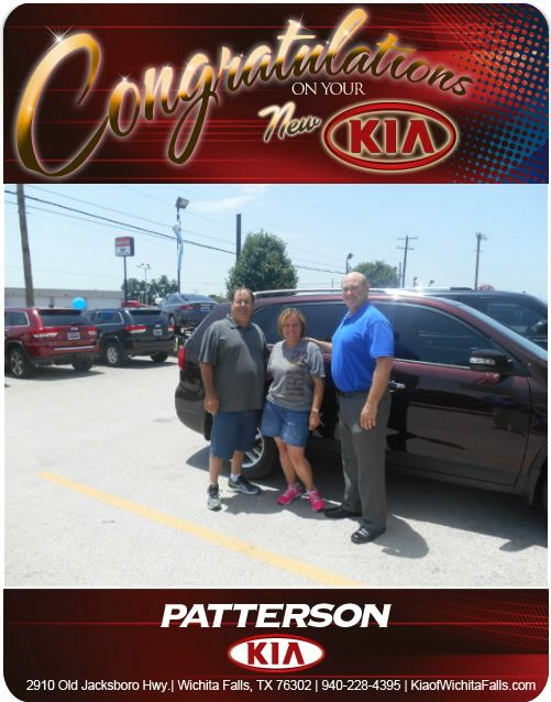 Congratulations, Larry and Lenora, on your new Sorento! - From Anthony Levell, 940-447-0741 at Patterson Kia.