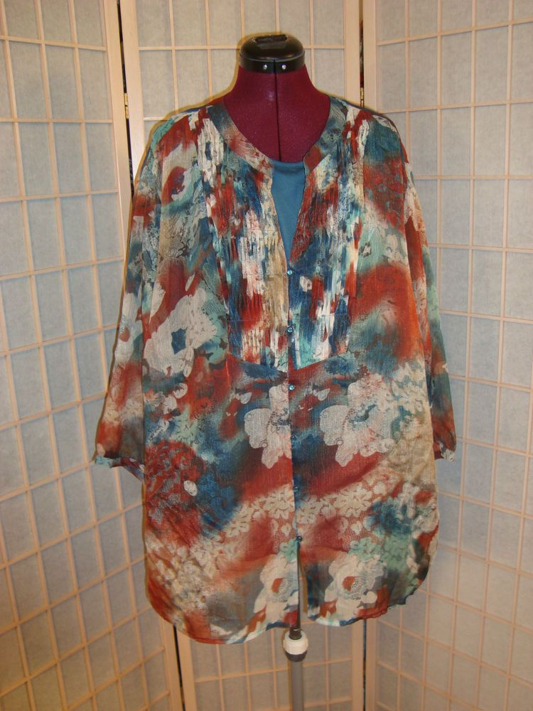 Catherines Sz 3X 2 PC Teal Blue & Rust Tank & Top Set Floral Design #Catherines #TankCamiTopSet