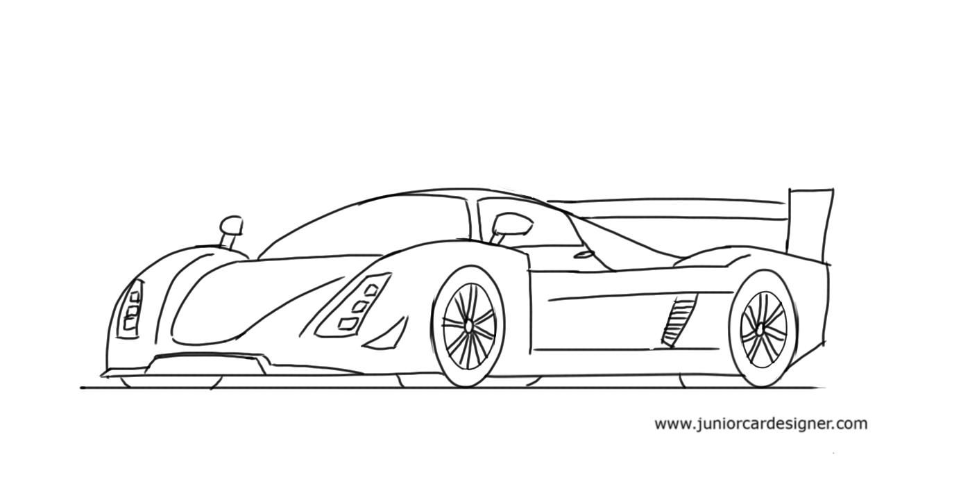 How to draw a race car le mans prototype car drawing for Cool easy drawing steps