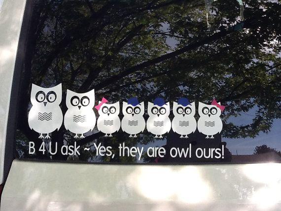 Owl Family Vinyl Car Window Decal H X W Set By Vinylartstudio - Owl custom vinyl decals for car