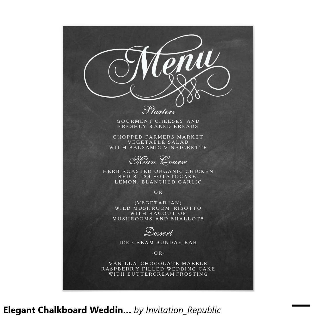 Elegant Chalkboard Wedding Menu Templates | Wedding menu template ...