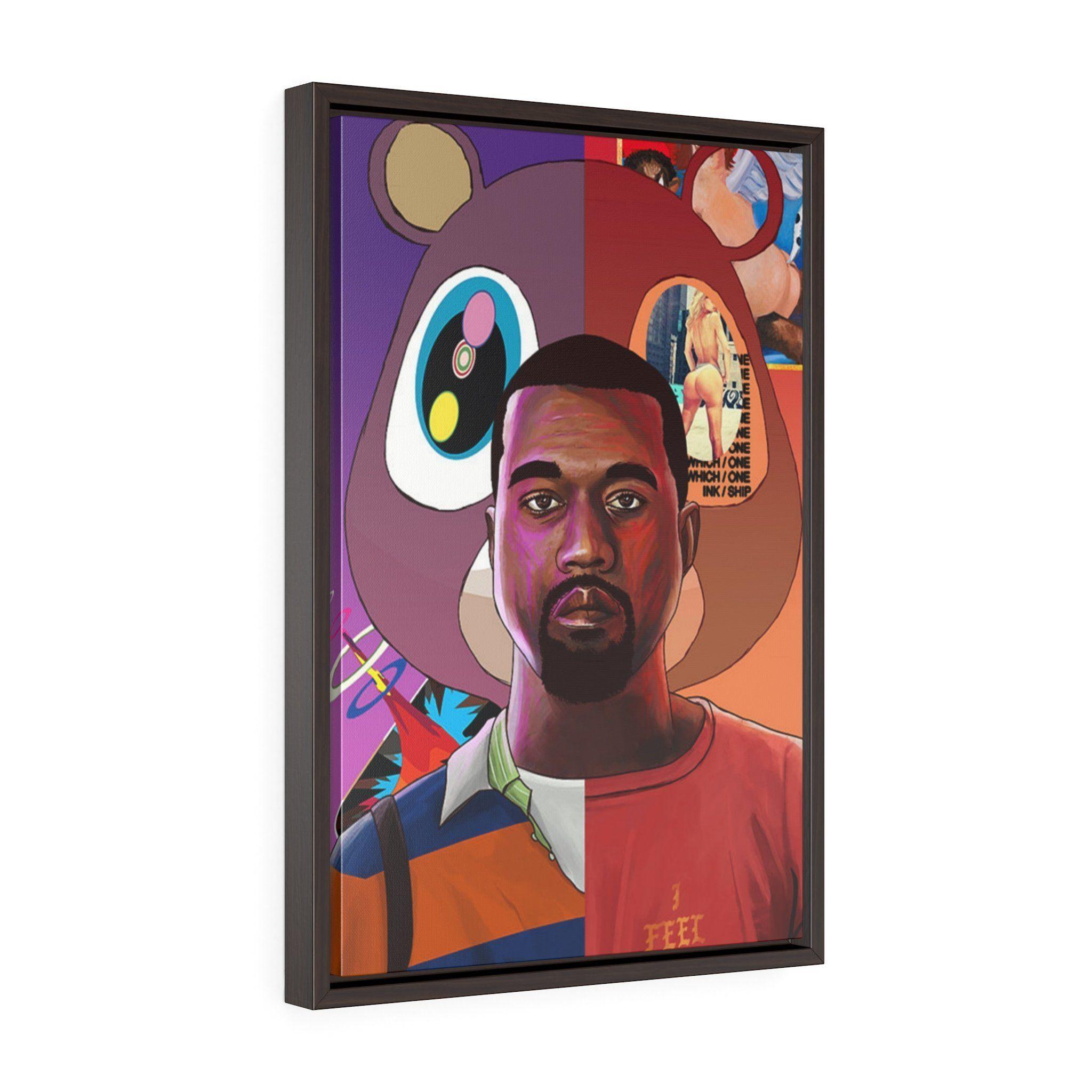 Kanye West Framed Canvas Gallery Wrap Music Art Print Gallery Wrap Canvas Art