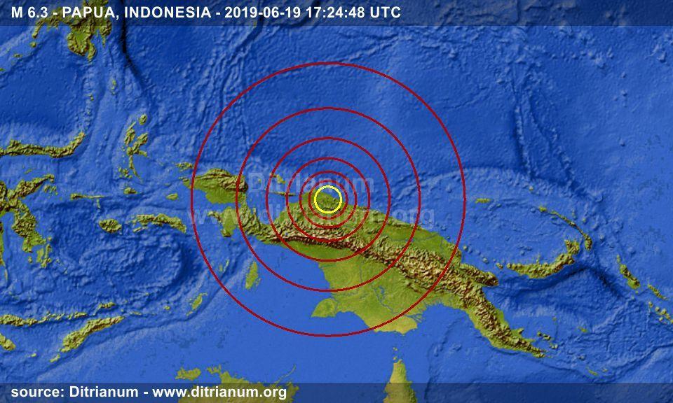 earthquake M 6.3 PAPUA, INDONESIA 20190619 172448 UTC