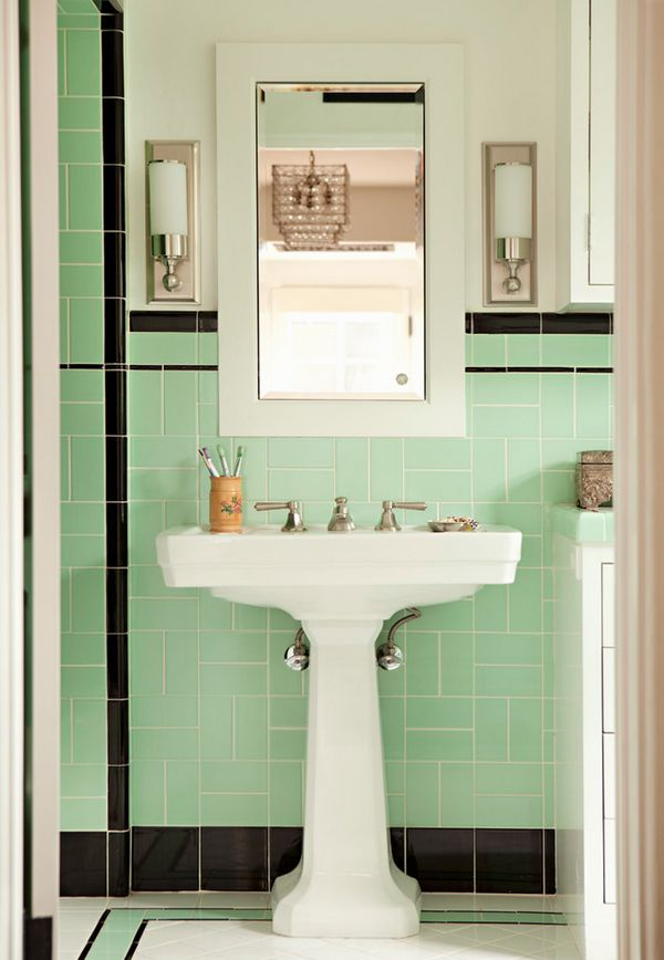 Ugly Green Bathroom Part 1  Retro Bathrooms  Pinterest  Retro Alluring Small Black And White Tile Bathroom Design Decoration