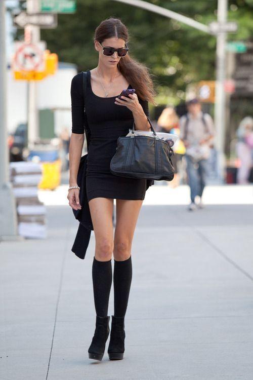 4f7de9459f89d Short Skirt with Knee Socks & Short Boots fashion black skirt mini skirt  street style short skirt street fashion short boots knee socks