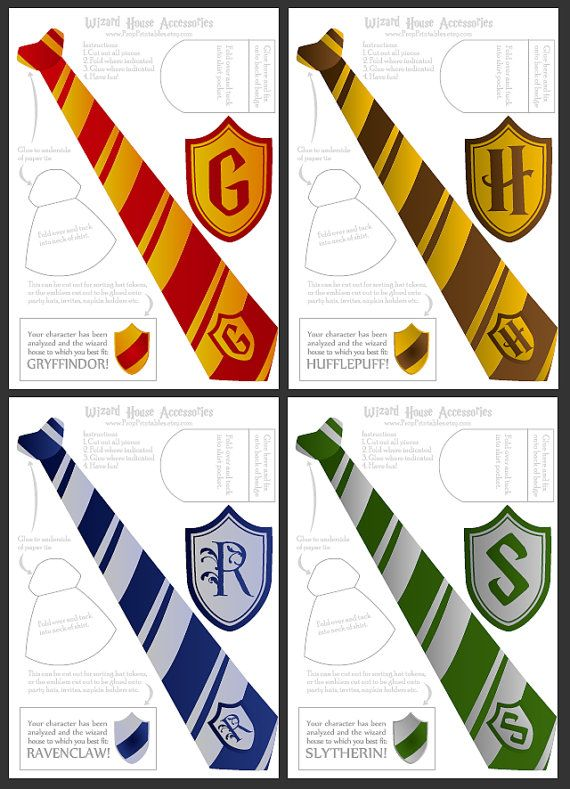 Wizard ties badges foldable templates high by for Harry potter tie template