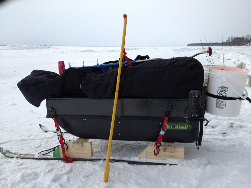 Jet sled or diy ice fishing house plans pinterest for Ice fishing sled ideas